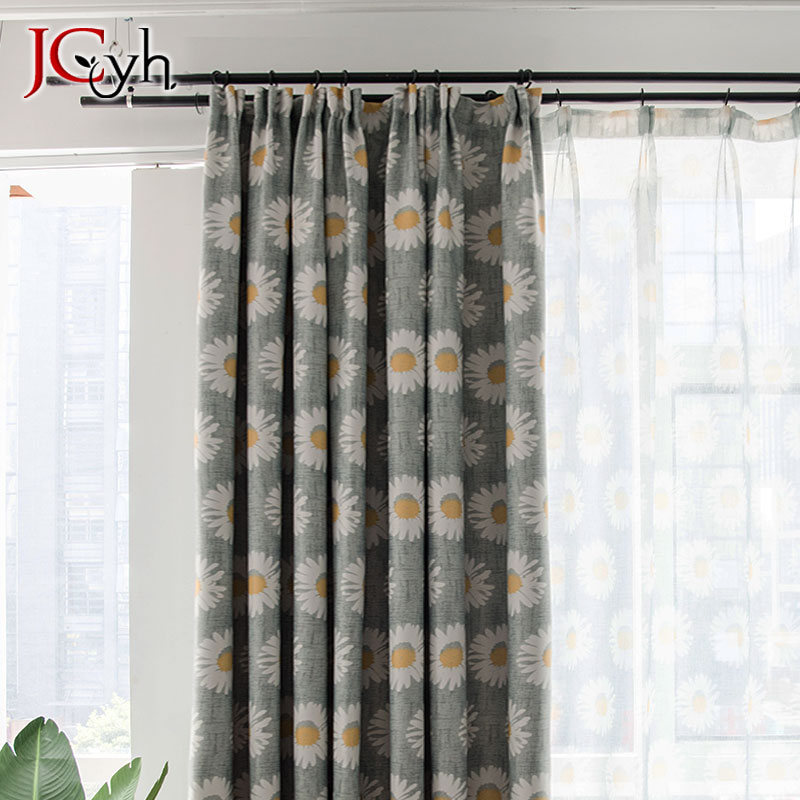 Pastoral Gray Sunflower Blackout Curtains For Living Room American Style Floral Blackout Curtain Window Treatments Rideaux Salon in Curtains from Home Garden