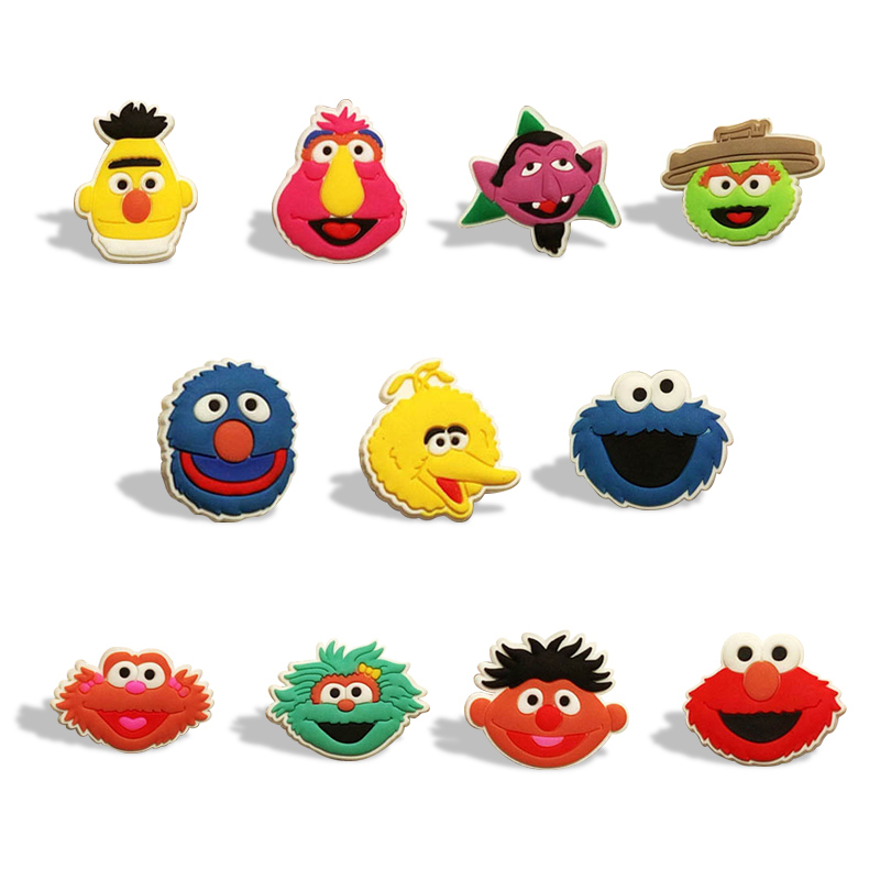 11pcs/lot Hot Sesame Street Elmo Shoe Charms Shoe Accessories For Kids Buckles Fit Bracelets Croc Charms JIBZ Shoe Decoration