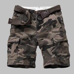 Bermuda cargo camuflada masculina, de qualidade premium, casual, militar, estilo exército, praia, solta, baggy, de bolso