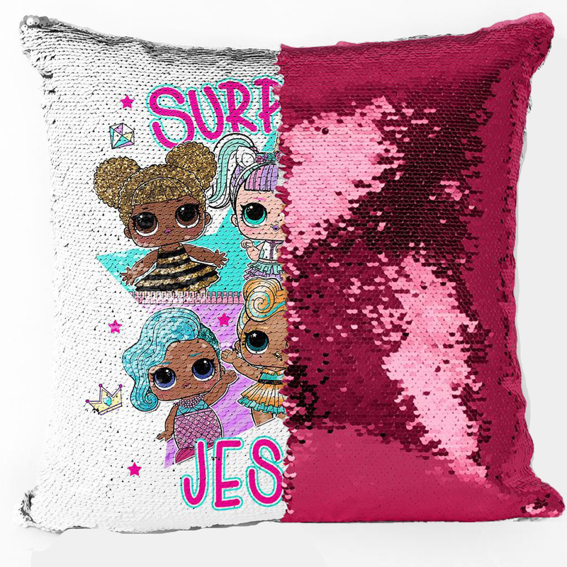 LOL Surprise!dolls Cushion Cover Pillowcase Two-color Sequin Soft Lol Doll Cartoon Car Pillow Child Bedroom Christmas Gift
