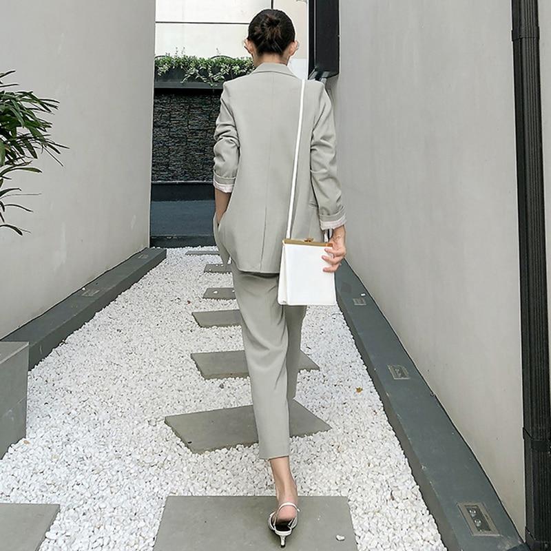 Elegant Light Green Women Pant Suits Double-breasted Blazer Jacket & High Waist Pants Vintage 2 Pieces-set OL Style Work Suits
