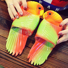 Summer Shoes For Women Fashion Parrot Animal slippers Candy colors house slippers for women Vacation flat beach slippers 2021