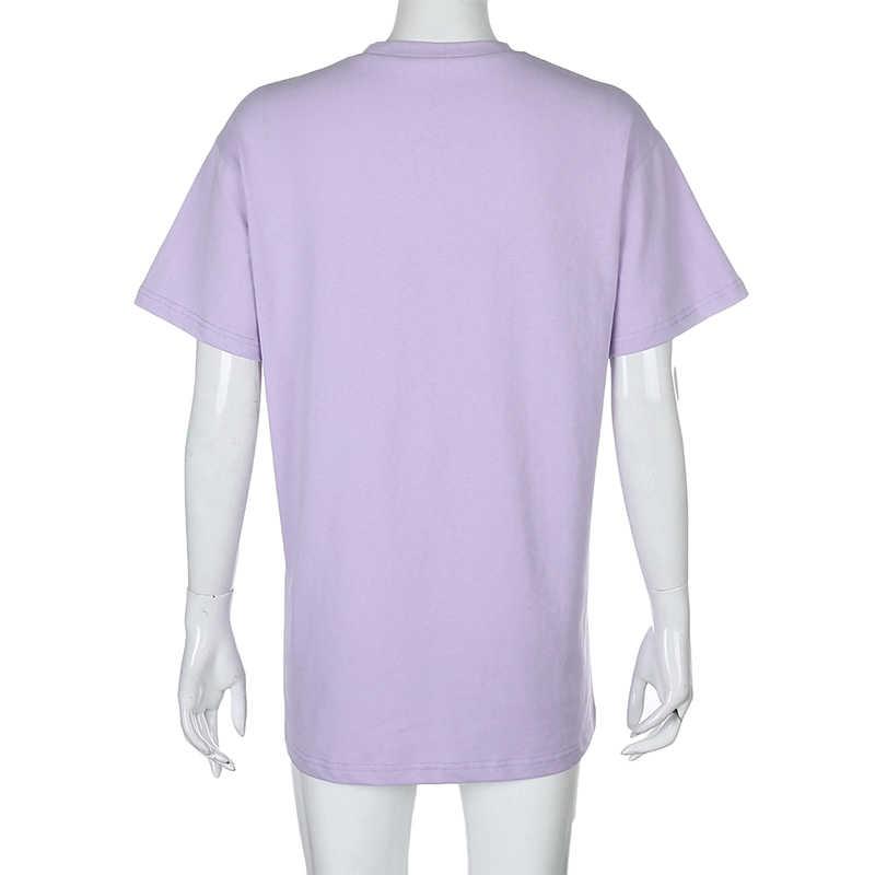 Darlingaga rahat gevşek kısa kollu beyaz T shirt mektup baskı kadın Tees Tops tatlı Harajuku yazlık T-shirt 2020 elbise gömlek