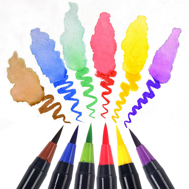 20PCS Colori Art Marker Acquerello Pennello Penne per la Scuola Forniture di Cancelleria Disegno Libri Da Colorare Manga Calligrafia 3