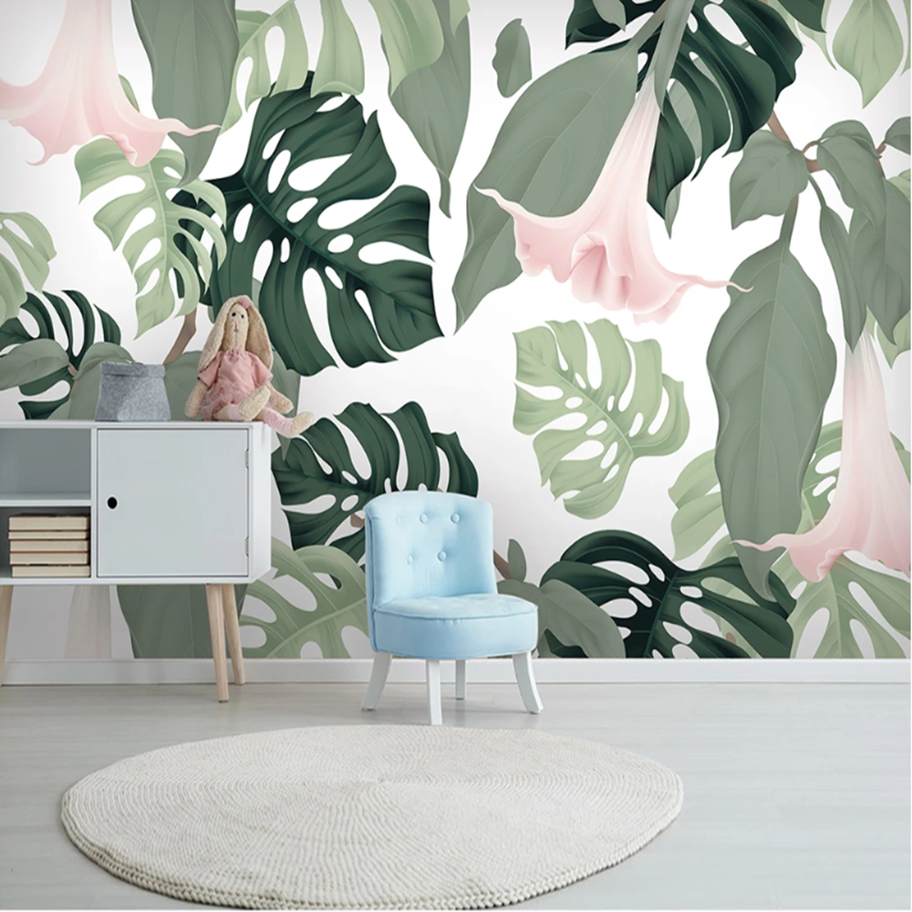 Milofi Custom Nordic Tropical Plant Leaves Large TV Background Wallpaper Mural