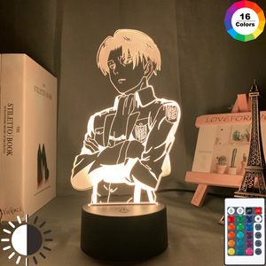 Acrylic Table Lamp Anime Attack on Titan for Home Room Decor Light Cool Kid Child Gift Captain Levi Ackerman Figure Night Light