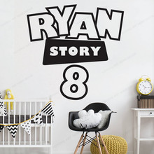 story name personalized Wall Decal Kids room Custom name vinyl wall sticker Playroom wall decor removable art mural JH07 mickey stars and moon wall sticker vinyl personalized wall decal custom name kids bedroom removable wall art mural jh181
