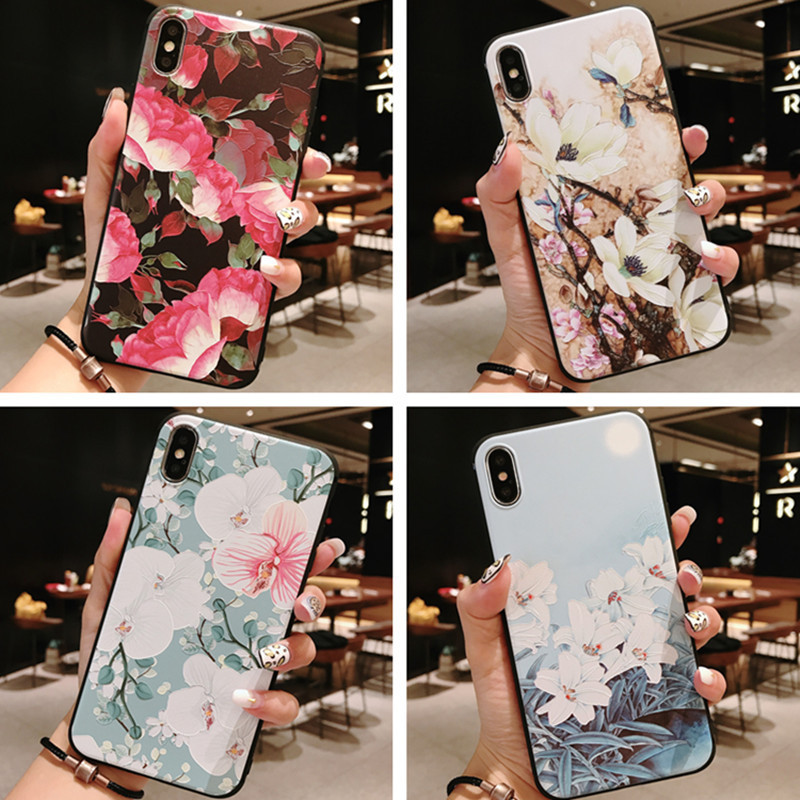 Simple new creative flower phone case for iPhone X XS XR XSMax 8 7 6 6S 5 5s 5SE PluS TPU matte silicone drop protection cover