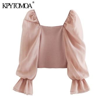 KPYTOMOA kobiety 2020 słodki moda Patchwork Organza dzianiny bluzki w stylu Vintage przepuszczalność rękawem Stretch kobiece koszule Chic topy