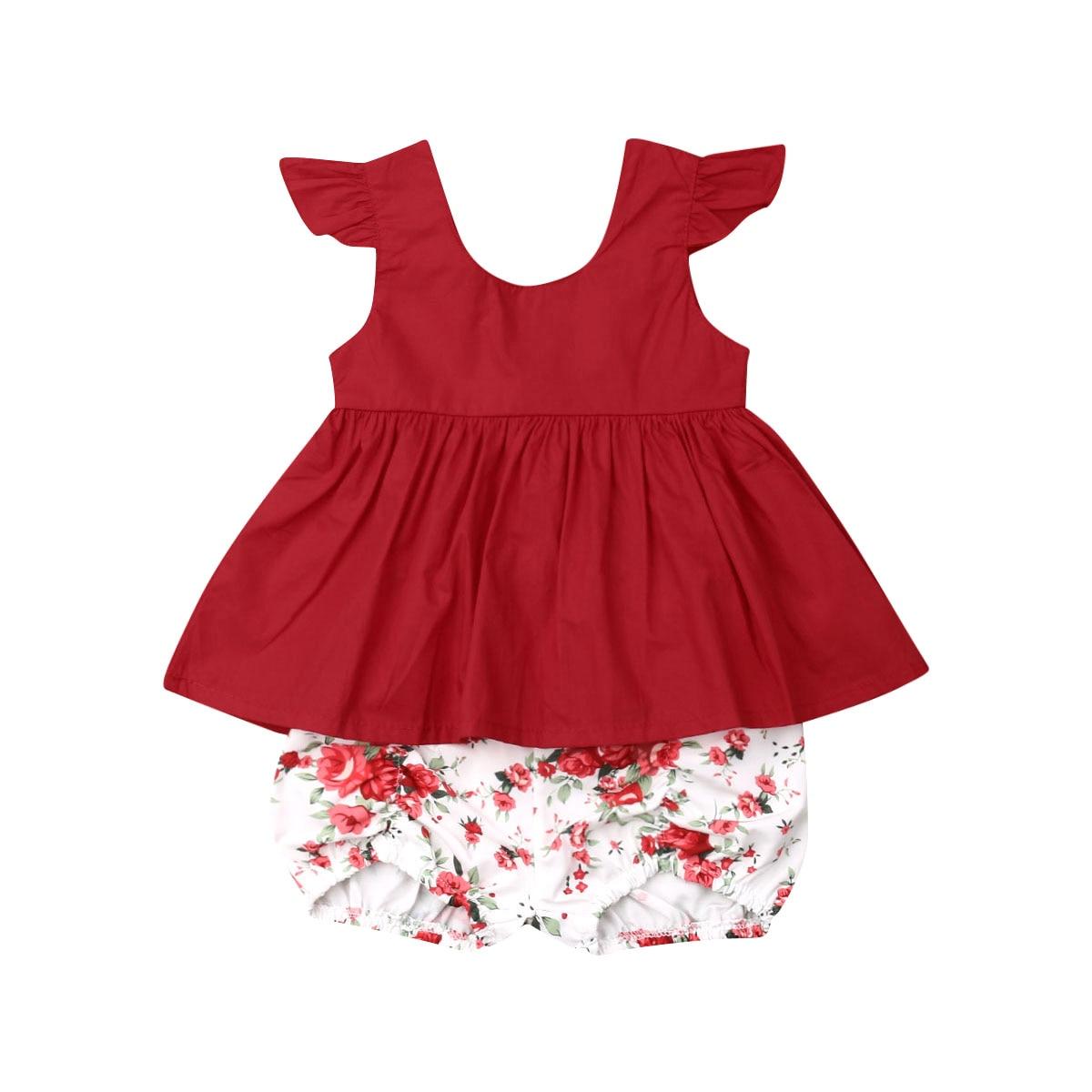 US 2PCS Toddler Kids Baby Girl Summer Clothes T-shirt Tops+Pants Shorts Outfits