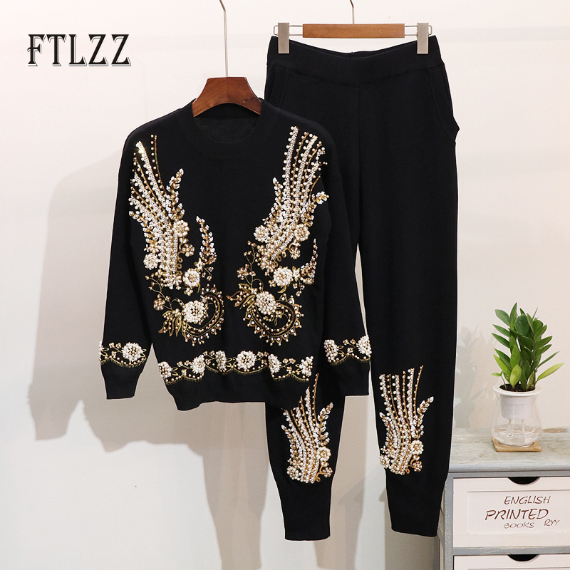 Fashion Woman Tracksuit 2019 New Autumn Winter Two Piece Set Vintage Beaded Embroidery Sweater Top + Pants Knitted Sportsuits