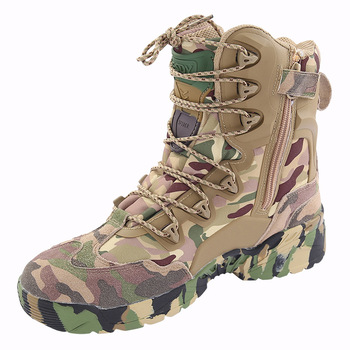 2019 Men Camouflage Boots Genuine Leather Outdoor Desert Combat Boots Military Assault Tactics Breathable Non-slip Hiking Boots