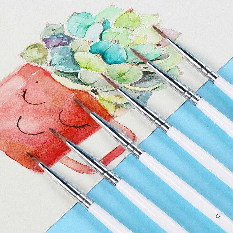6 шт./компл. тонкая ручная краска ed тонкая ручка-крючок для рисования художественная Ручка #0 #00 #000 принадлежности художественные кисти нейлоновая кисть для рисования 4