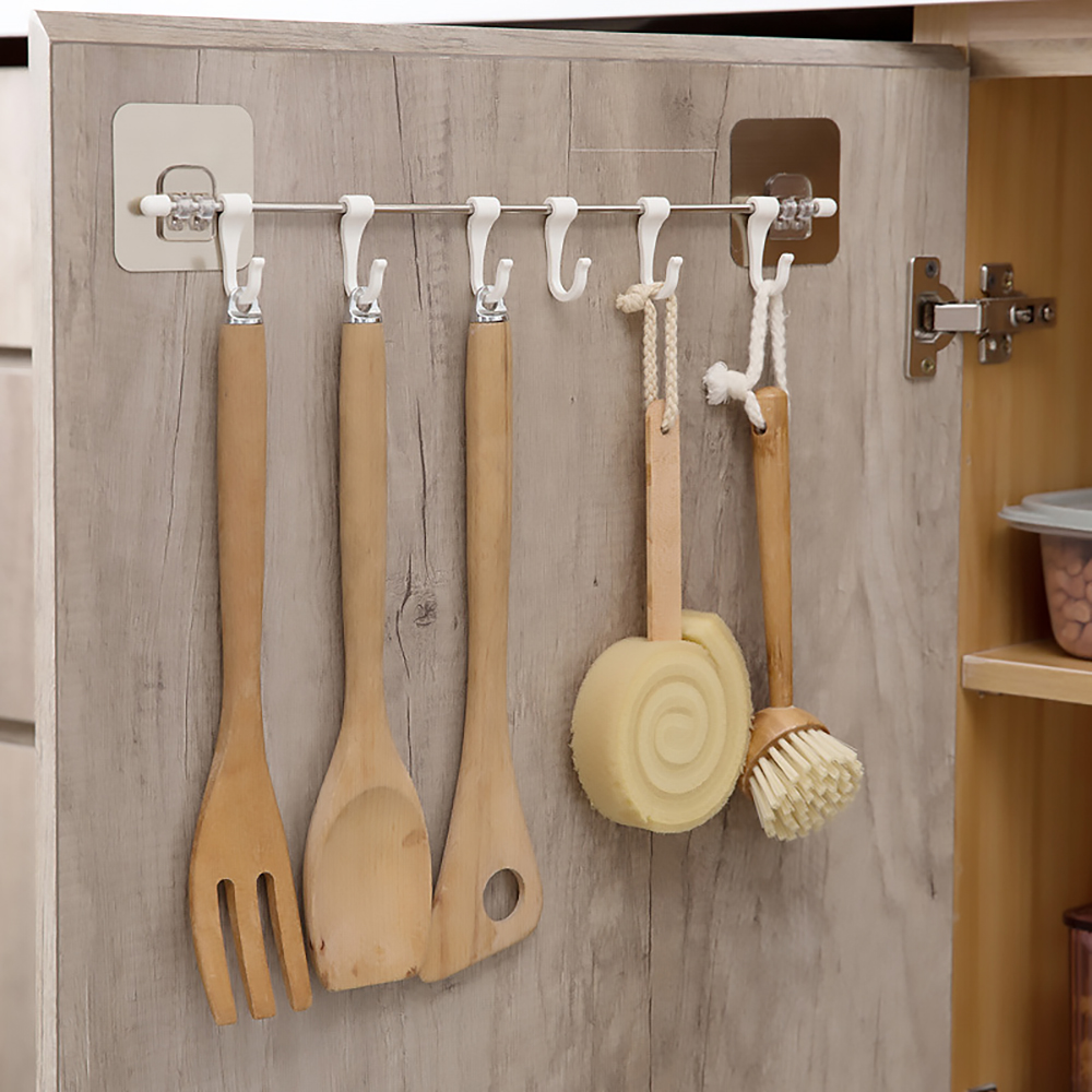 Multifunction 6 Hook Cupboard Home Organizer Storage Rack Pantry Chest Tools Towels Hanger Wardrobe Towel Rack Storage Shelf