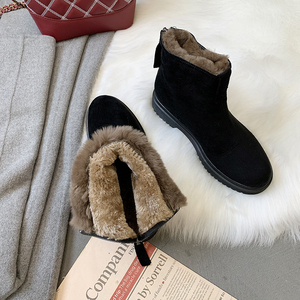 Women Boots Black Zipper Boots Ankle Boots Women's Boots Winter New Knight Warm Wild Thick Wind Boots Metal Decoration U11-97