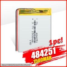 484251 1500 mah 3.7 V zasilanie bateria litowa akumulator litowo-polimerowy do MP3 MP4 MP5 GPS PSP MID zestaw słuchawkowy Bluetooth
