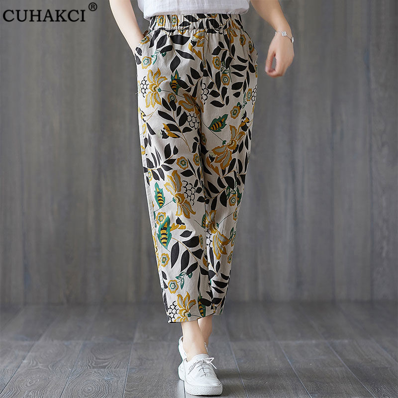 CUHAKCI Women New Summer Pants Linen Casual Floral Printed Dot Loose Fashion Elastic Waist Harem Pants 4XL Plus Size Trousers