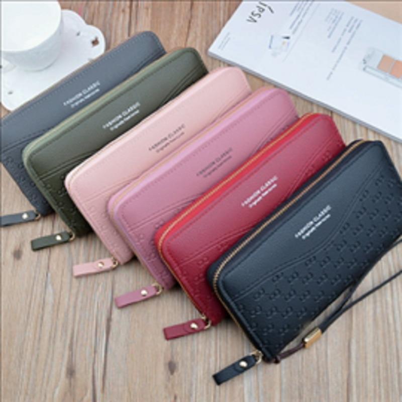 2020 new wallet women's long zipper wallet fashion embossed large capacity mobile phone pocket change handbag women's wallet