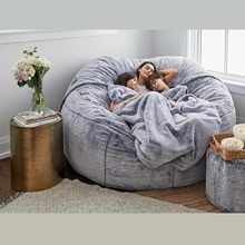 Fur-Bean-Bag Bed-Slipcover Recliner Pouf Floor-Seat Lazy-Sofa Couch-Futon Fluffy Giant