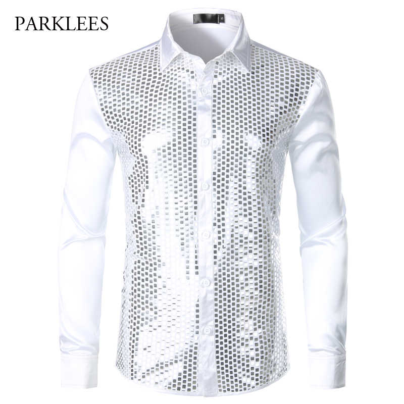 Luxury Silver Shiny Sequin Shirt Men 2019 Brand New Silk Satin Mens Dress Shirts Chemise Homme Night Club Stage Shirts Camisas