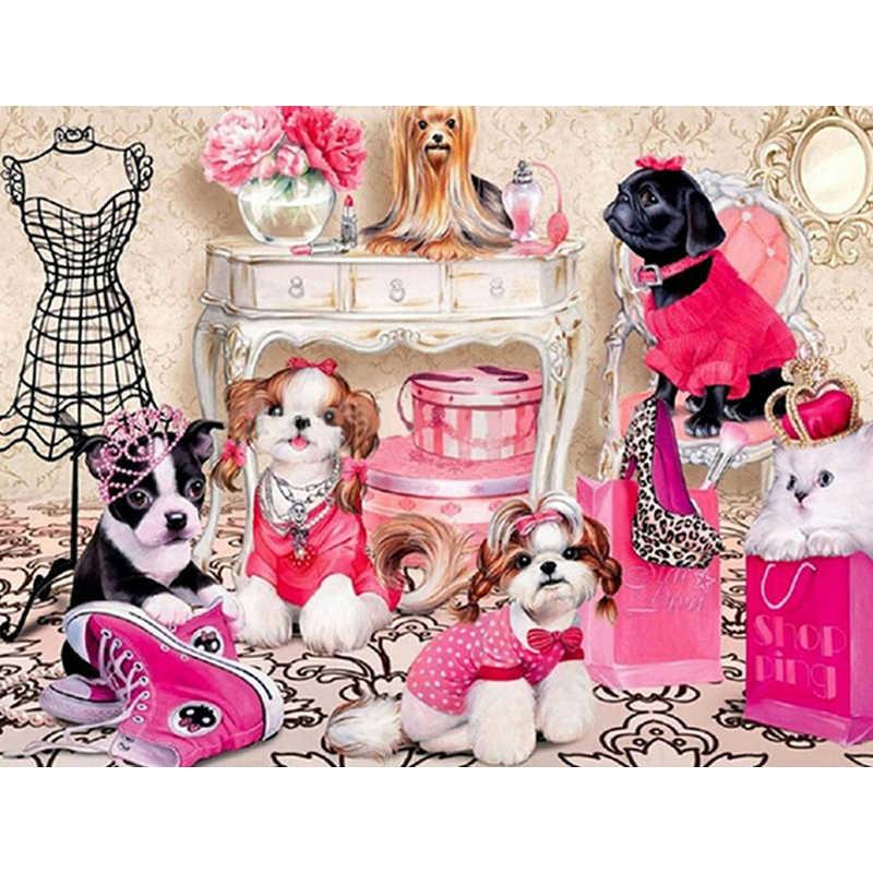 5D Pittura Diamante Pieno e rotondo/piazza Animale cane Mosaico FAI DA TE Diamante Pittura cavallo Ricamo A Punto Croce Casa Decorativo M218