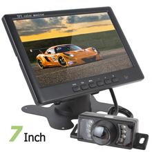 Super Thin 800 x 480 7 Inch Color TFT LCD 2 Channels  Video Input Car Rear View Monitor + 7 IR Lights Car Rear View Camera цена и фото