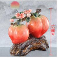 Animal ceramics longevity peach peach pomegranate apple plant crafts to celebrate the birthday peach Sculpture statue home decor