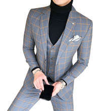 Suit Three-Piece-Set Korean-Style Handsome Men's Casual Slim-Fit England Youth