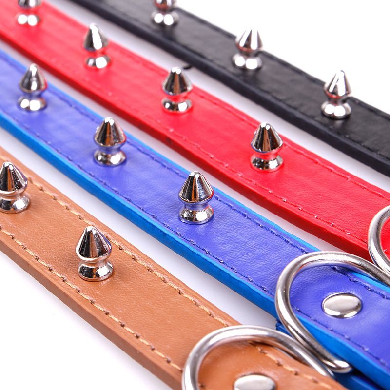 New Style Anti-Bite Pet Rivet Neck Ring PU Leather Collar French Bulldog Pug Collar Small And Medium-sized Dogs