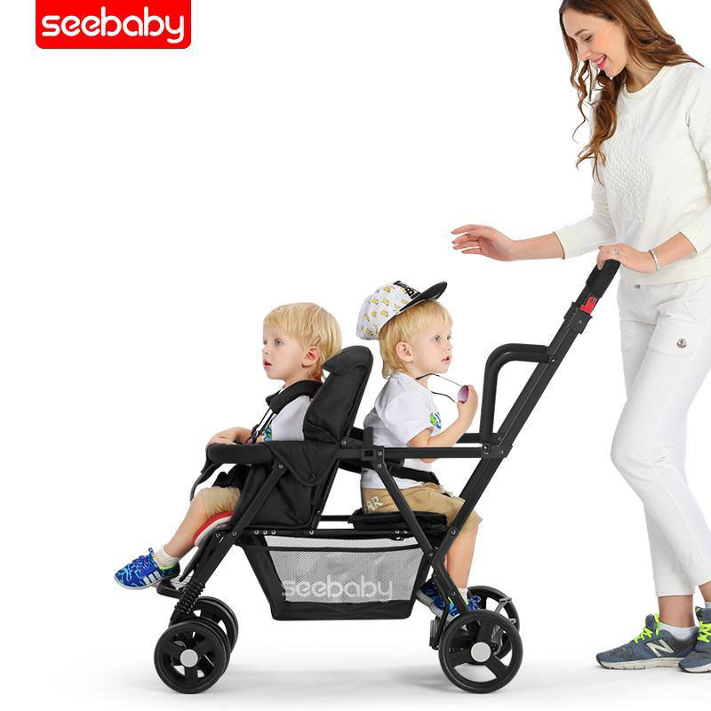 Can Sit Can Lie Stroller For Two Children Tandem Stroller Pram, Foldable Twins Stroller