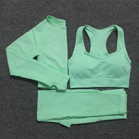 10 Colors Yoga Set Vital Fitness Sports Suit Women Seamless Leggings Sports Bra+Long Sleeve Crop Top Running Gym Clothing Femme