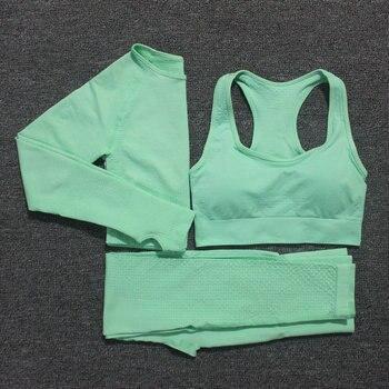 10 Colori di Yoga Set Vestito di Sport Delle Donne di Fitness Leggings Senza Soluzione di Continuità Reggiseno Sportivo Vitale + Manica Lunga Crop Top Corsa E Jogging Palestra abbigliamento Femme 1