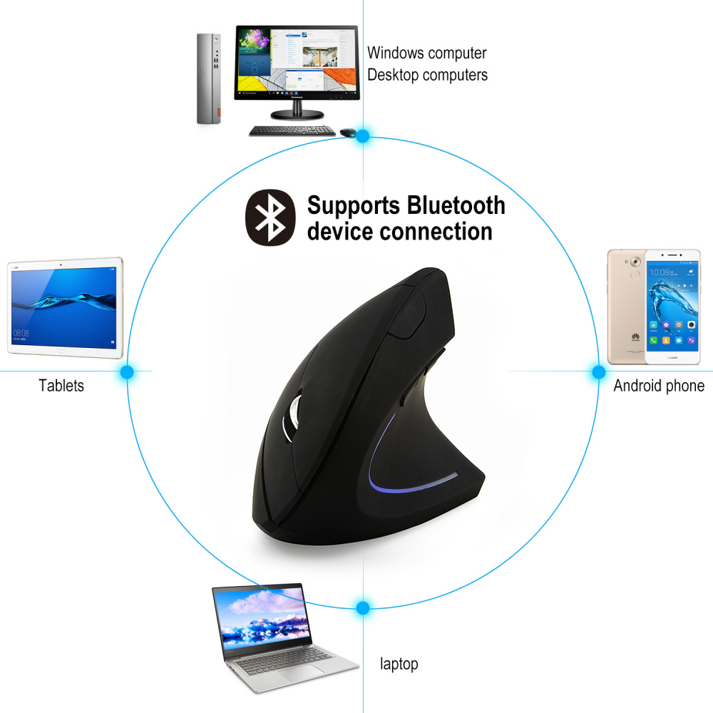 CHYI Bluetooth Vertical Wireless Ergonomic Computer Gamer Mouse Optical PC Gaming Mause 6 Buttons LED 3D Mice For Laptop Macbook in Mice from Computer Office