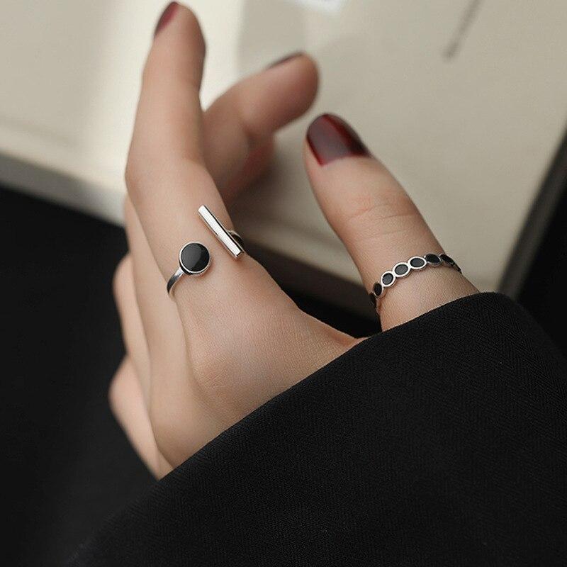 XIYANIKE 925 en argent Sterling géométrique noir strass anneau rond femme mode coréenne ouvert réglable à la main Couple cadeaux 4