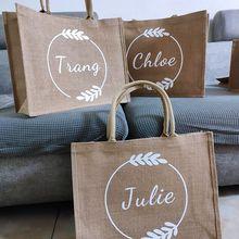 Personalized Burlap Tote Reusable Jute Tote Bridesmaid Beach Bag Custom Shopping Bag Bridesmaid Gift Bag Wedding Favor Bridal
