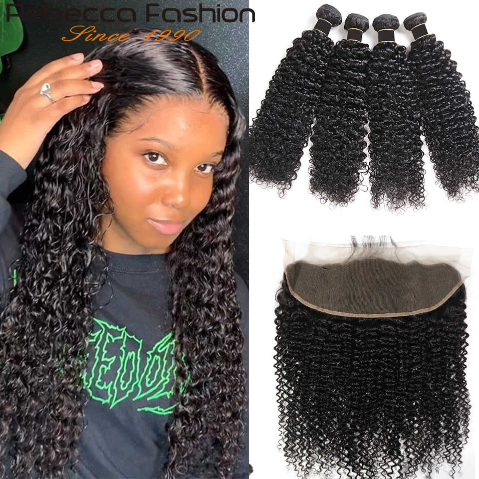 Rebecca Kinky Curly Lace Frontal Closure 13x4 With Bundle Brazilian Curly Weave Remy Human Hair 3 Bundles With Lace Frontal
