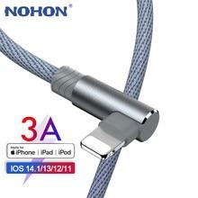 1 2 3 m cabo de fio cabo usb para apple iphone x xs max xr se 6s 7 8 mais 12 11 pro ipad ar 90 graus rápida carga linha dados