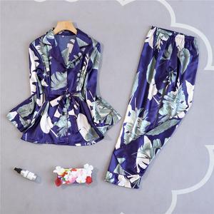Image 5 - חדש אביב פיג מה ארוך שרוול דק פיג נשים קוריאני אישית בית בגדי סימולציה משי שני סטים מודפס פיג מה Mujer