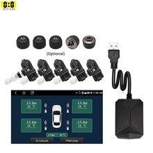 Reproductor de DVD y Radio para coche, sistema de supervisión de presión de neumáticos, neumático de repuesto, Sensor externo interno, USB, TMPS, 5 neumáticos, Android, TPMS