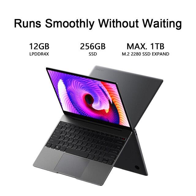 CHUWI GemiBook 13 Inch 2160*1440 Resolution Intel Celeron J4115 Quad Core 12GB RAM 256GB SSD Windows 10 Laptop Dual Band Wifi 3