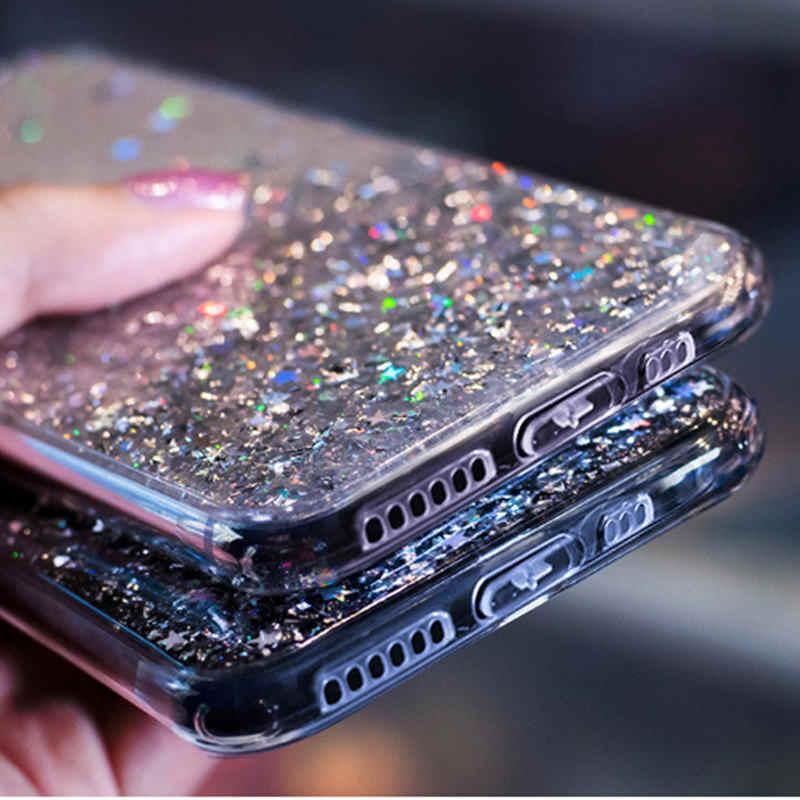 فاخر بلينغ بريق الهاتف حقيبة لهاتف أي فون 11 برو X XS ماكس XR لينة غطاء سيليكون آيفون 7 8 6 6S زائد نازف الغراء