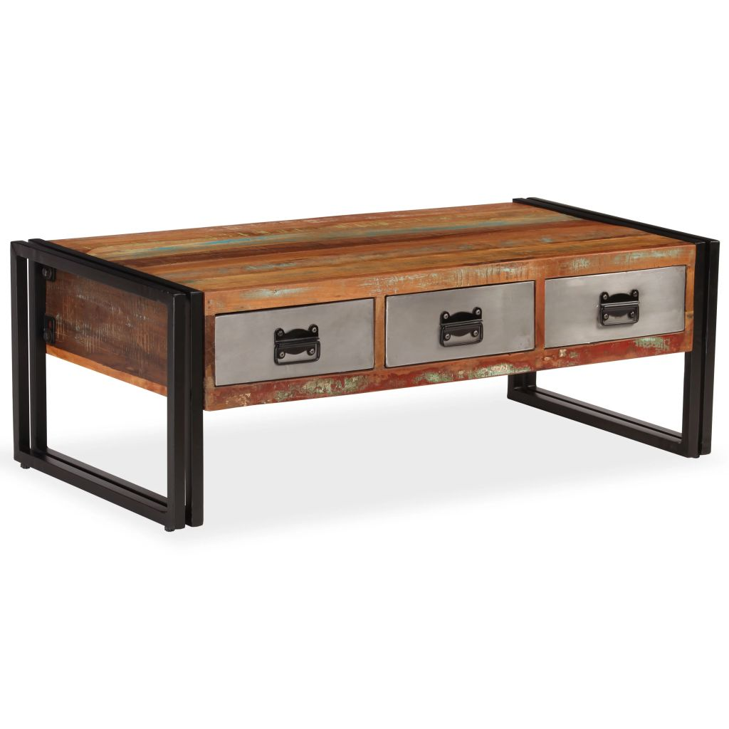 VidaXL Coffee Table With 3 Drawers Solid Reclaimed Wood 100x50x35 Cm
