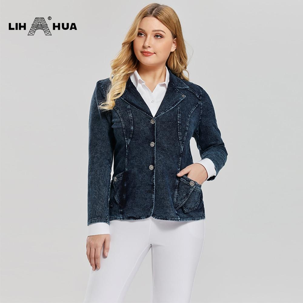 LIH HUA Women's Plus Size Casual Fashion Busine Denim Suit Premium Stretch Knitted Denim Slim Fit Denim Jacket