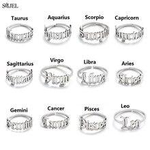 Bague du zodiaque du Cancer, bijou personnalisé pour femmes et hommes, astrologie, signe étoile 12 constellations, ancienne bague anglaise avec lettre