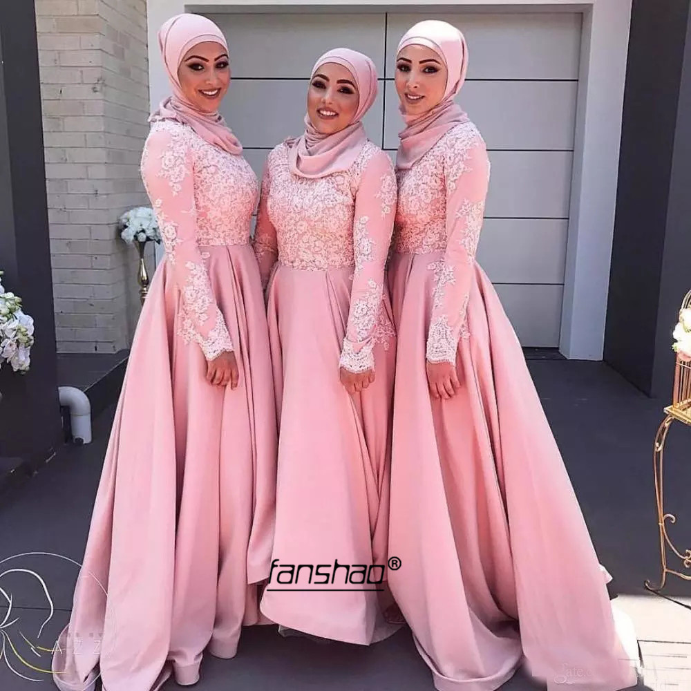 Peach Muslim Evening Dresses Satin A-Line Full Sleeve Scarf Vestidos De Festa Dubai Saudi Arabic Evening Gown Prom Dress
