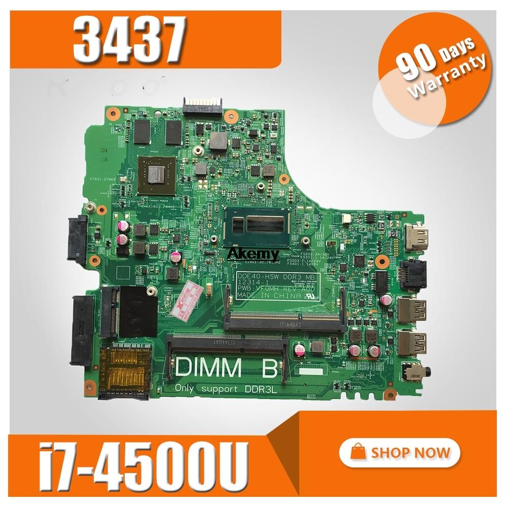 12307-2 PWB VKJ89 REV: A00 For DELL 5437 3437 Notebook Motherboard CPU I7 4500U GT740M 2G DDR3 100% Test Work