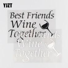 YJZT – autocollant en vinyle noir/argent, 13.5x9.3CM, autocollant de voiture, meilleurs amis, vin ensemble, moderne et créatif, 4C-0410
