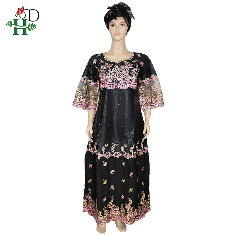H&D African Dresses For Women Embroidery Lace Dress With Head Wraps Bazin Riche Dashiki Long Dresses South Africa Lady Clothes
