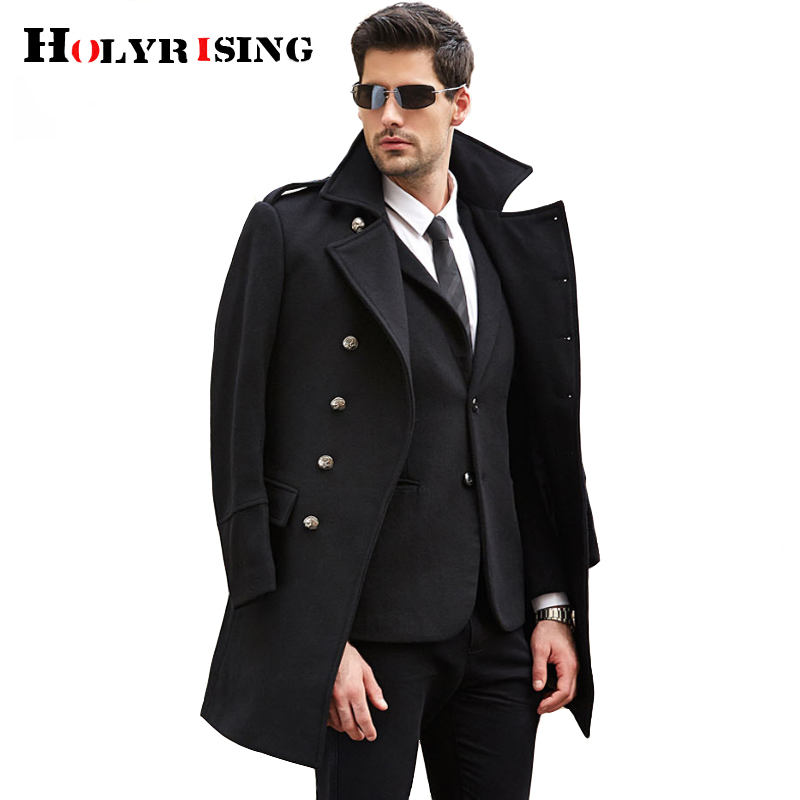 Men's Double Breasted Woolen Coat winter Trench Coat Long Mens Overcoat High Quality Men Wool Jacket 19247-5