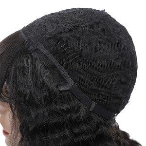 Image 5 - Perruque Bob Bang pour femmes brésilienne avec frange, perruque cheveux naturels Remy, coupe courte et Pixie, Deep Wave, fait à la Machine